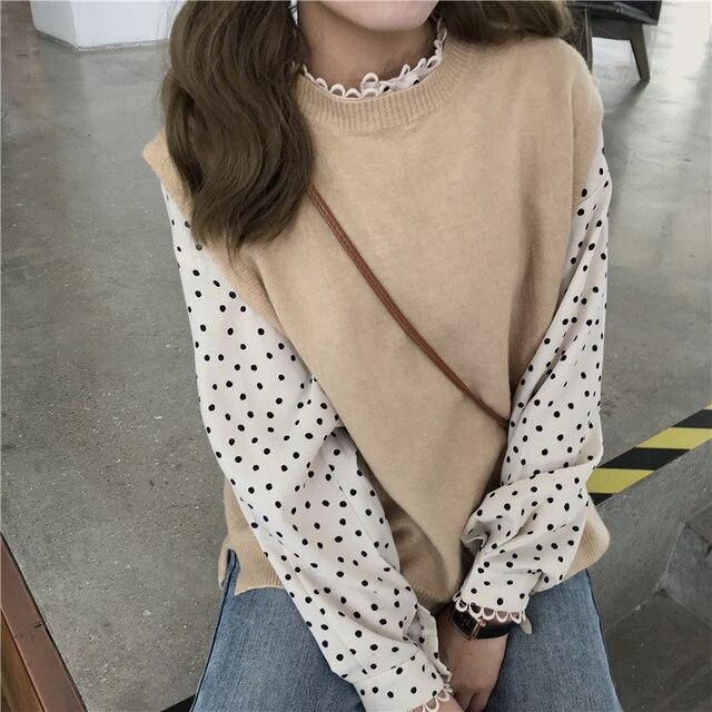 Shirts Women Elegant All-match Polka Dot Retro Loose Chiffon Korean Style Lovely Students Long Sleeve Blouses Trendy Simple Chic