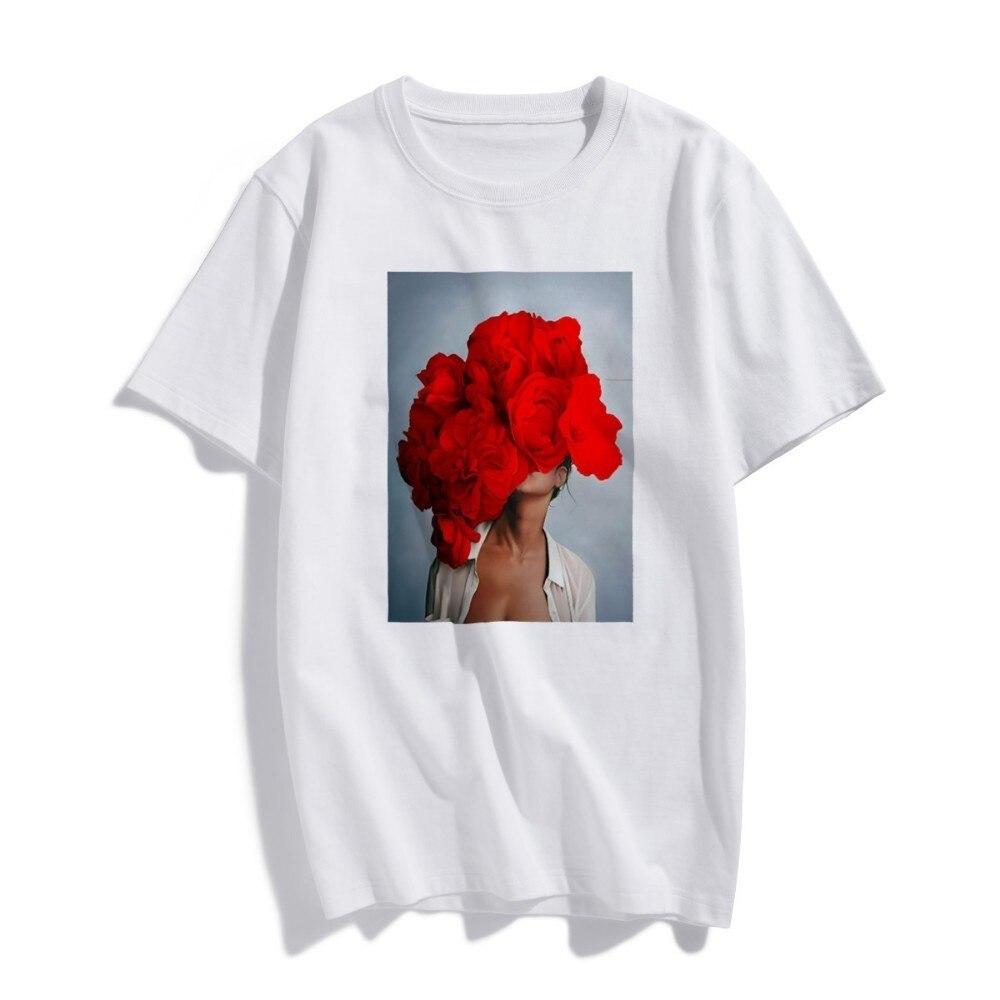 Модная футболка в скандинавском стиле, сексуальные красные цветы, эстетика Харадзюку, Женская Винтажная футболка с коротким рукавом, большие размеры, хлопковые футболки, уличная одежда