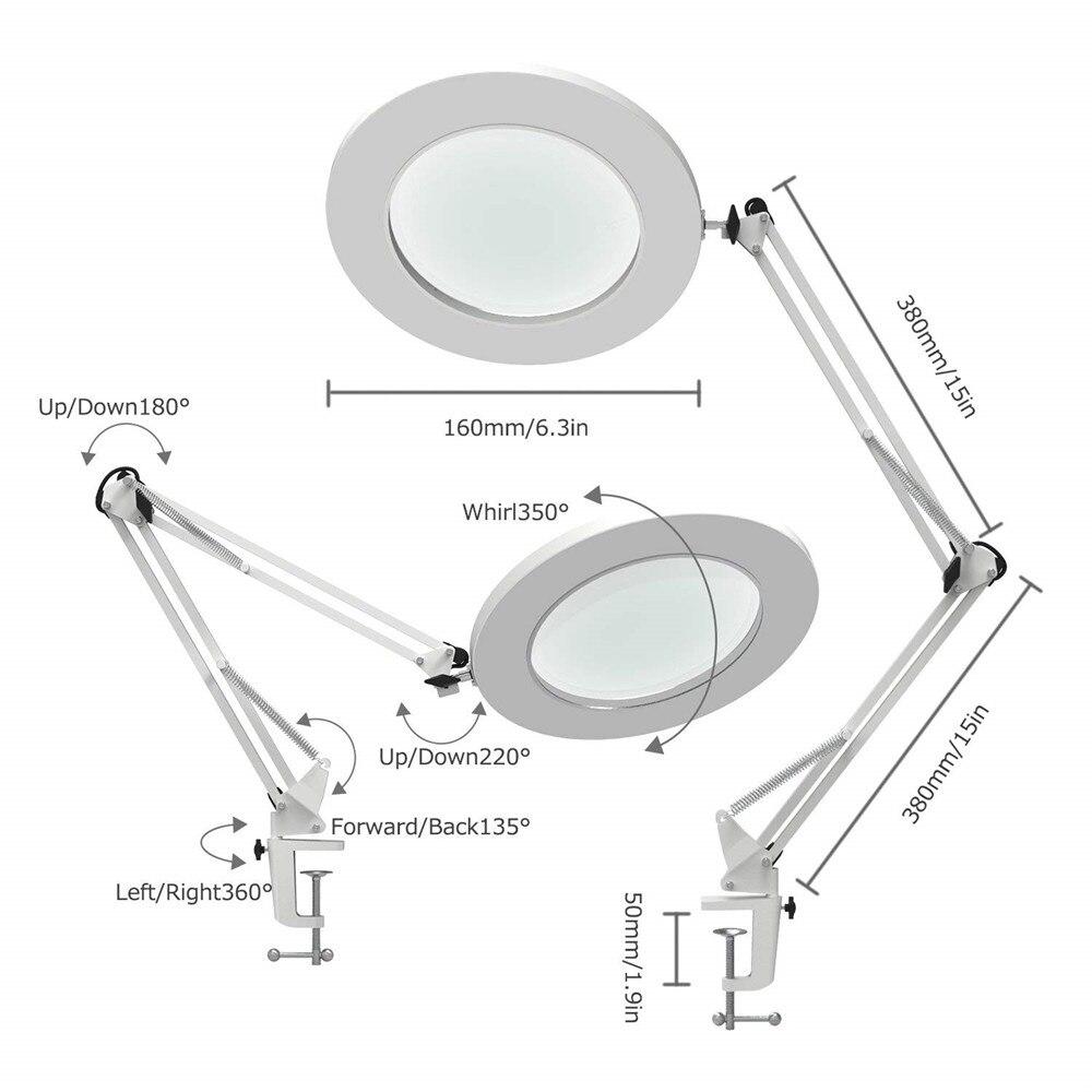 7 W led lampe loupe collier métallique bras oscillant lampe de bureau Continu Gradation 3 Couleurs, Loupe lampe à led 5X, 4.1