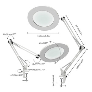 "Image 2 - Lámpara de mesa de aumento LED abrazadera de Metal brazo oscilante escritorio atenuación continua 3 colores 7W lupa luz 3X, 4,1 ""diámetro lente arquitecto"