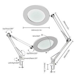"Image 2 - LED מגדלת שולחן מנורת מתכת מהדק נדנדה זרוע שולחן Stepless עמעום 3 צבעים 7W זכוכית מגדלת אור 3X,4.1 ""קוטר עדשת אדריכל"
