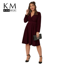 Kissmilk Plus Size Women Casual Loose Wrap V Neck Solid Office Lady Long Sleeve High Waist  Lace Up Midi A Line Dress