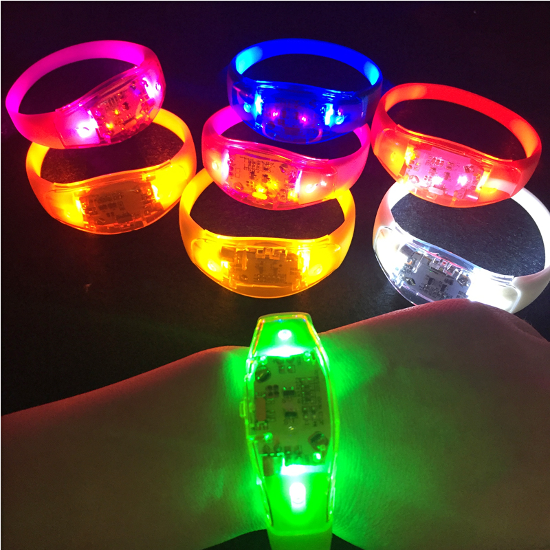 Led Luminous Toys Neon Led Party Light Up Led Bracelet Bangle Sound Activated Christmas Bracelet Glowing