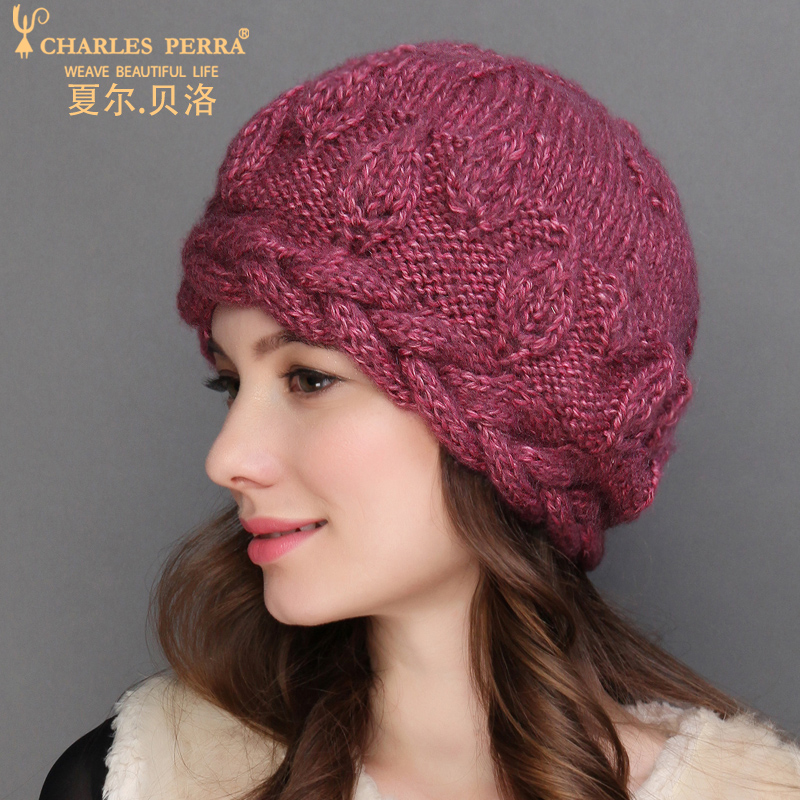 Charles Perra NEW Women Knitted Hats Winter Thicken Double Layer Elegant Casual Wool Blend Women's Hat Warm Female Beanies 6907