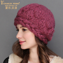 Charles Perra NEW Women Knitted Hats Winter Thicken Double Layer Elegant Casual Wool Blend Womens Hat Warm Female Beanies 6907