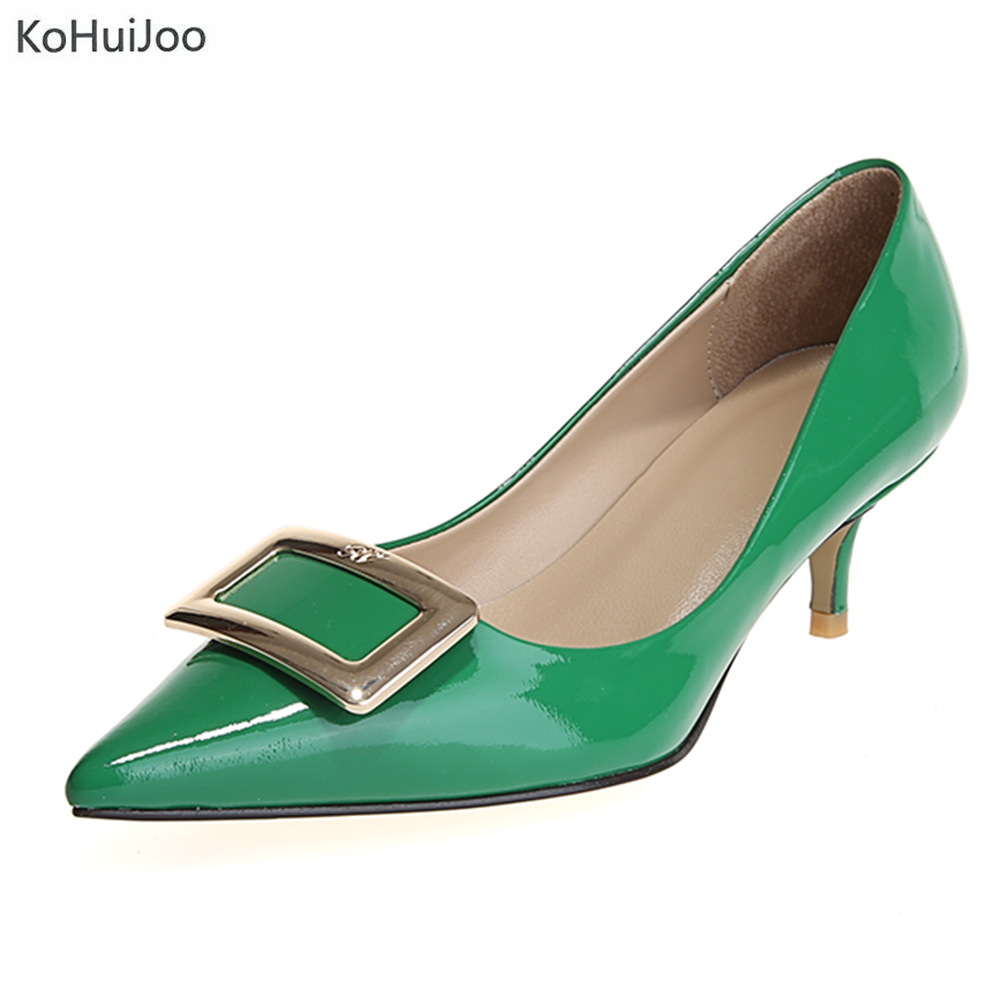 KoHuiJoo Spring Summer Wedges Pumps Genuine Leather Women Shoes Spike Heel  Pointed Toe Buckles High Heel Green Shoes for Ladies dc6fbcdbfe89