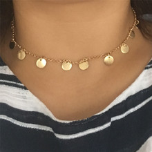 CUTE 16K GOLD COLOR ROUND DISC CHOKER NECKLACE FOR WOMAN GIRL