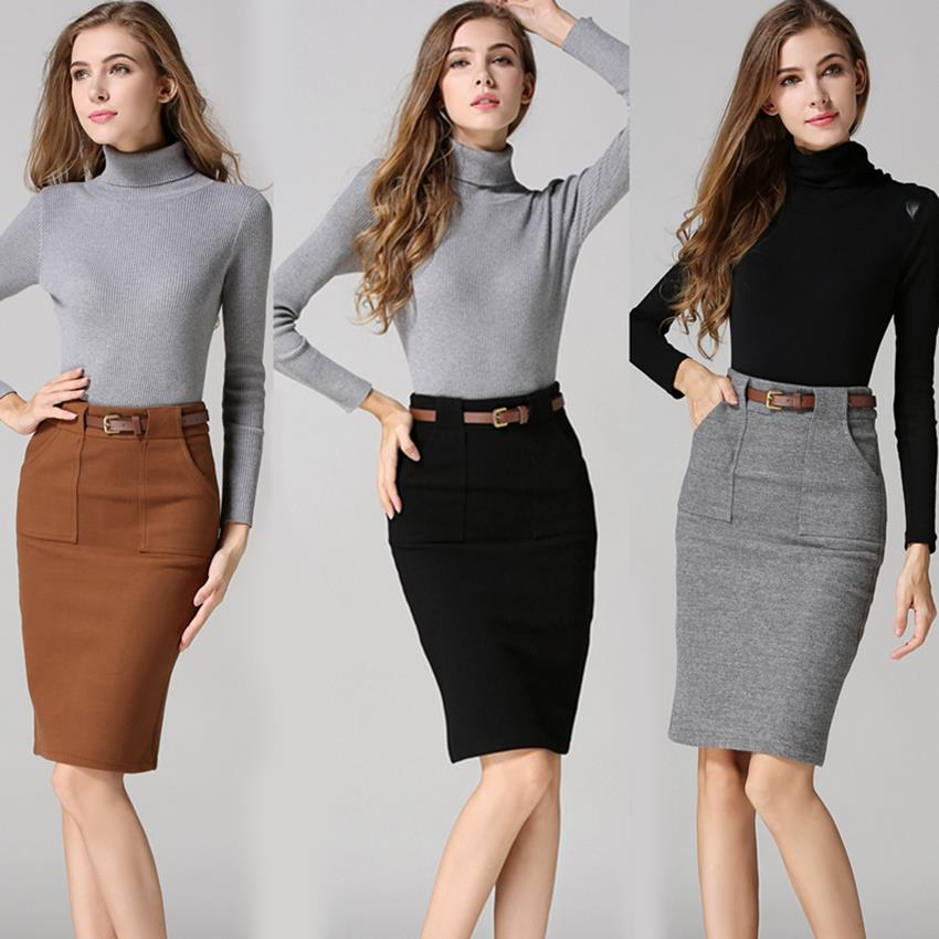 Vintag Woolen Skirts Womens High Waist Pencil Skirt Front