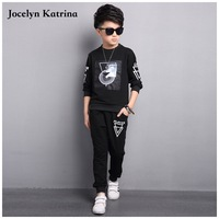 Jocelyn Katrina boy clothes 2017 spring and Autumn Dark Grey long sleeve t-shirt + casual long pants 2pc suit kids clothes
