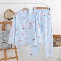 Fresh Apple Fruit 100 Cotton Pajama Sets Women Spring Long Sleeve Gauze Cotton Cozy Pijama Simple