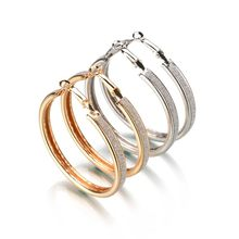2018 New Korean version of the trend of European and American big rock and roll exaggerated scrub ring earrings jewelry for gift(China)