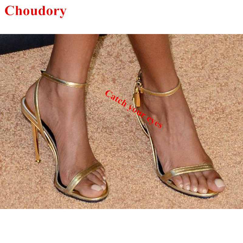 Sexy Open Toe Metallic Leather Ankle-wrap Women Summer Party Pumps Stiletto Heel Maison Padlock Strappy Gladiator Sandals Shoes sexy glossy gold caged party stiletto heel shoes summer ankle boots women peep toe strappy gladiator sandals women party pumps