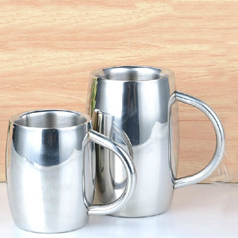 high quality stainless steel beer mugs coffee tea milk mug with handgrip double wall silver. Black Bedroom Furniture Sets. Home Design Ideas
