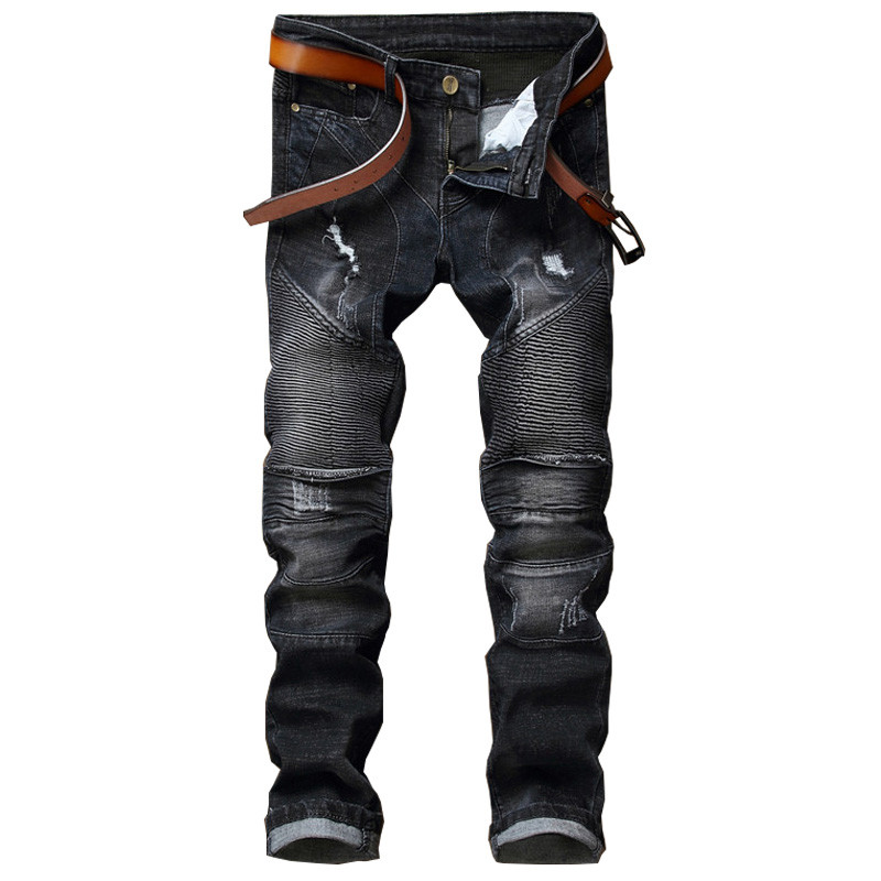 NEW Biker Men Jeans Homme Hi Street Hole Slim Fit Distressed Ripped Denim Pants Male Stone Washed Punk Cotton Jeans meking photo studio lighting softbox 70cmx100cm 28x40 with bowens mount photo softbox reflector for flash speedlight