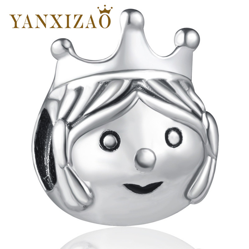 Yanxizao Silver 925 European CZ Cute Prince Beads Fit Pandora Original Chidren Bracelet Pendant Necklace Jewelry Lovely GW354