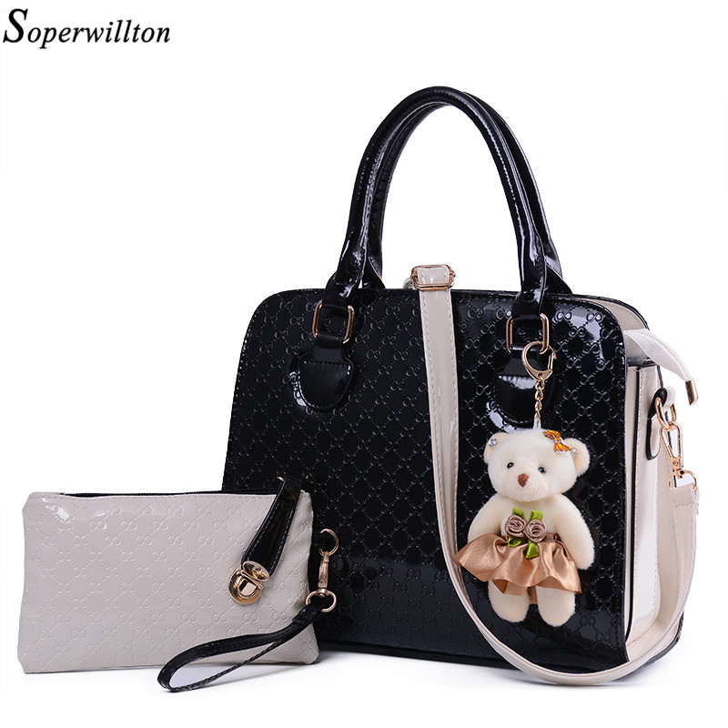 Soperwillton Brand New 2017 Women Bag With Fashion Doll Composite Bag For Female PU Leather Geometric Print Drop Shipping #668