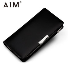 AIM Men Black Long Wallets Classic Brand Purse For Men Large Capacity Daily Mens Credit Card Holder Phone Coin Case High Quality
