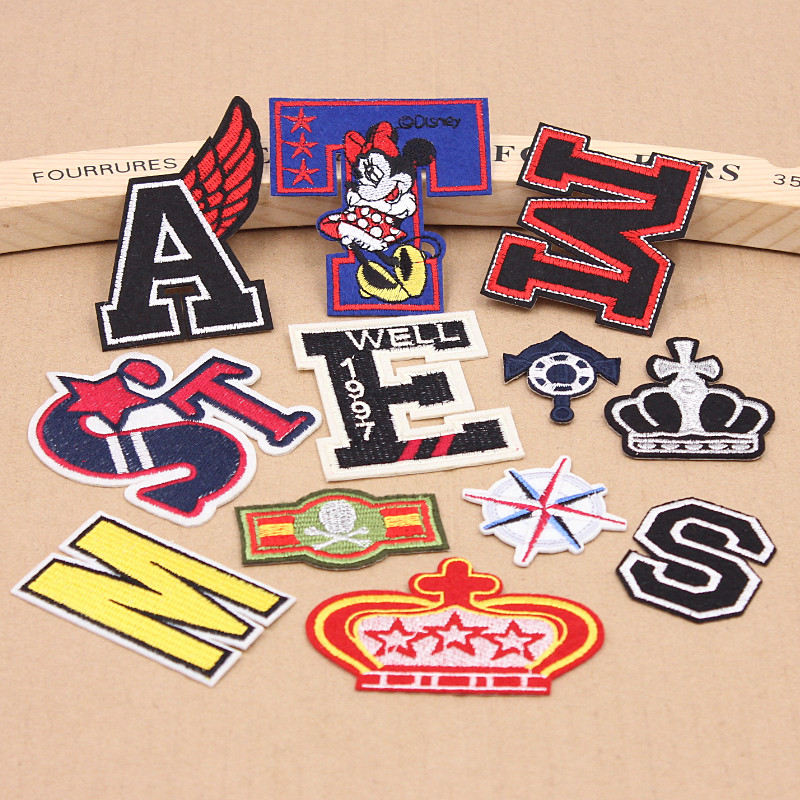 Hot sale 1pcs letter patches cartoon anchor embroidered for Applique shirts for sale