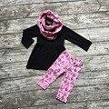 ROUPAS de inverno meninas do bebê 3 peças define com lenço define tenda meninas outfits bebê roupas meninas top com calça preta