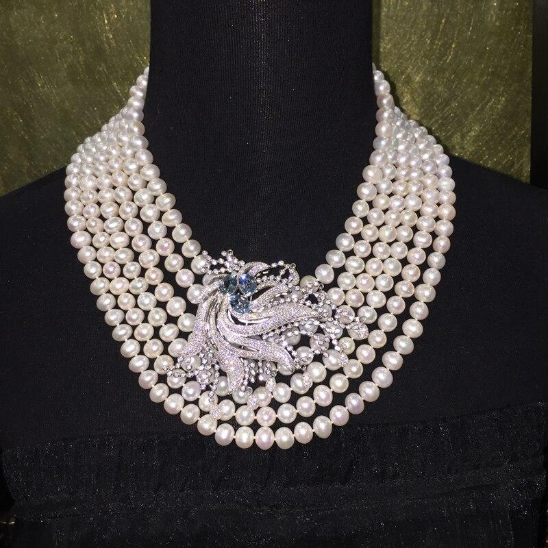 8-9 MM collier de perles d'eau douce naturelles 6 couches Hyperbole collier de mariage nearround fine femmes bijoux en argent avec topaze