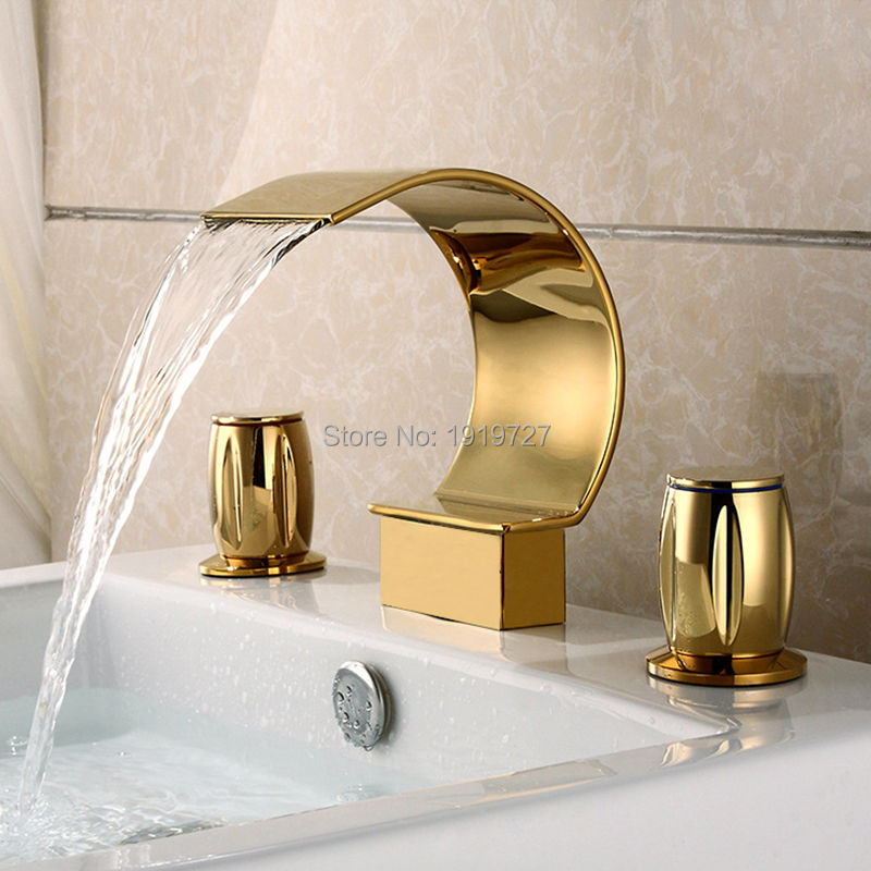 Factory Direct Luxurious Widespread 3 Hole Waterfall Basin Faucet Gold Finish Bathroom Sink Mixer Tap smesiteli factory direct solid brass bathroom basin sink faucet chrome gold finish single hole mixer tap hot
