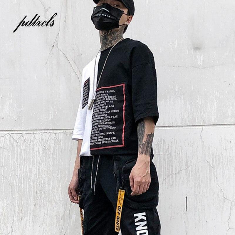 Novo Estilo Ocidental Moda Marcas Comprimento Irregularidade Letra Impressa T-shirt dos homens Hip Hop Streetwear Casual Masculino Tops Tees