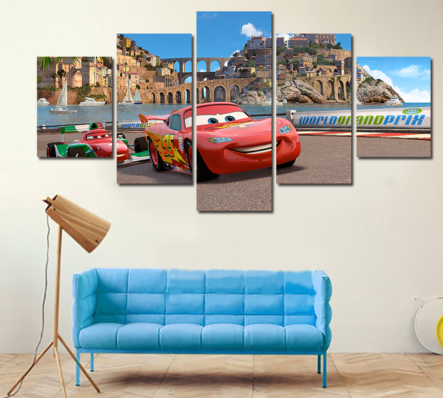 5 Piece HD Cars Photo Modern Home Wall Decor Canvas Picture Art HD ...