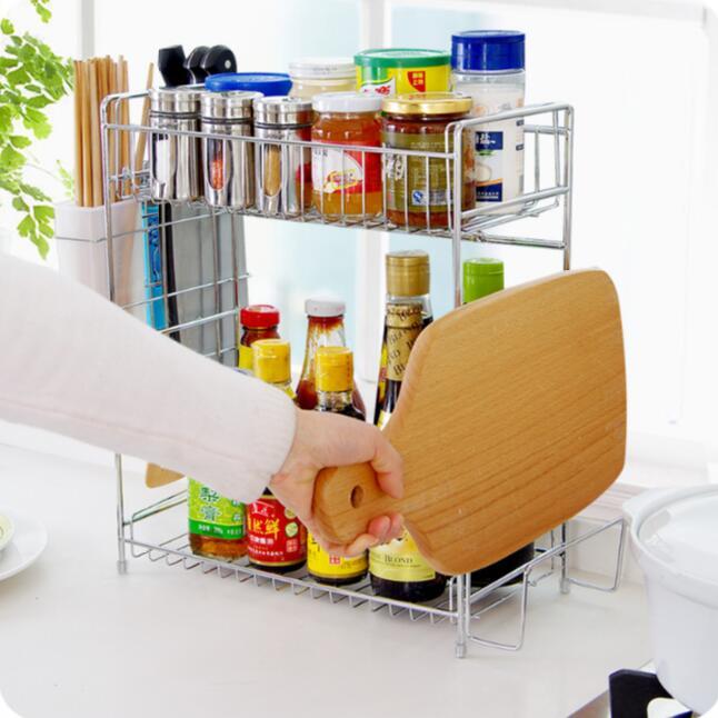 Acier inoxydable Double couche assaisonnement épices stockage Rack baguettes Cage planche à découper étagère cuisine outil titulaire