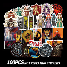 100 pieces Thrones Stickers Classic Logo Laptop Bike Car Sticker Toy Waterproof  Luggage Skateboard Stickers No Repeat
