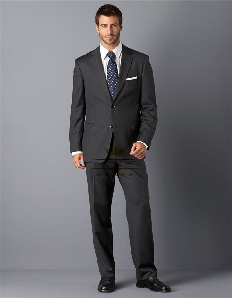 Dark Gray Mens Suits For Men With Pants Custom Made Boss Tuxedos ...