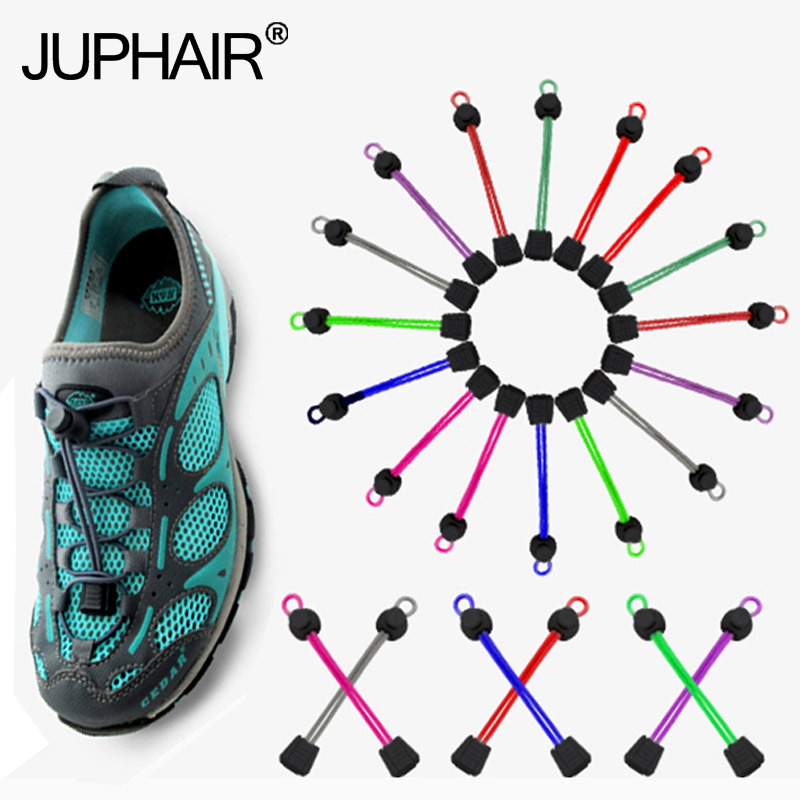 JUP8 Pairs New Multicolor Laces Black Buckle Elastic No Tie Locking Shoelaces Trainer Sports Fitness Athletic Sneaks Shoe Laces new woman pink flat shoelaces trainer sport boot shoe laces 2 pairs