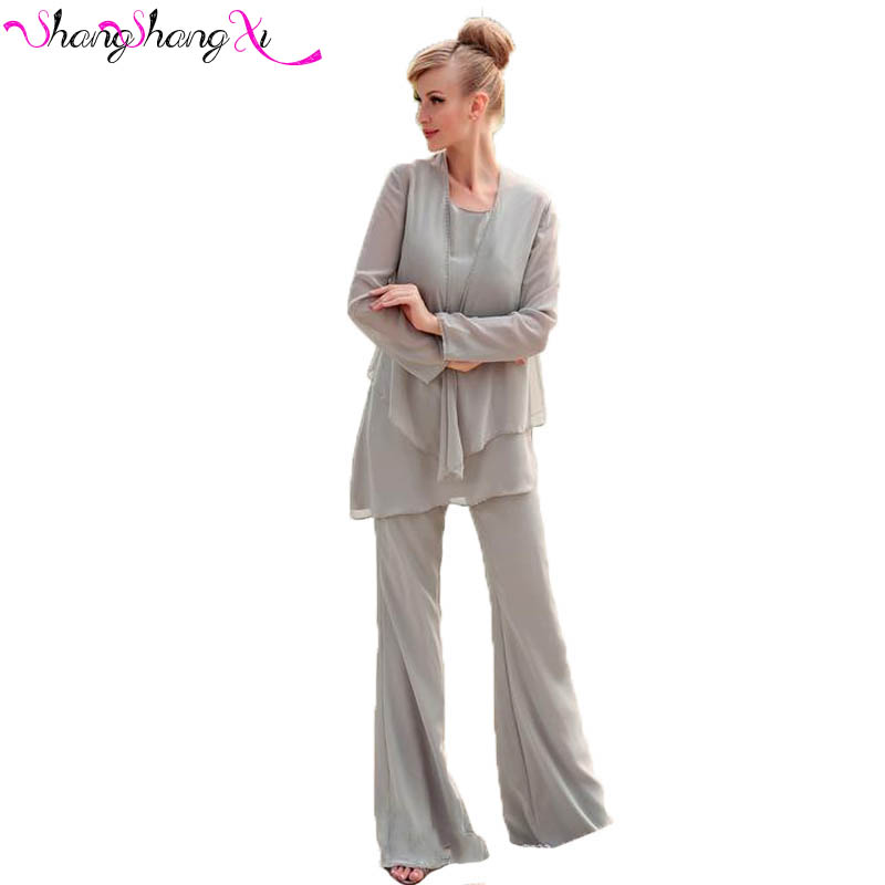 Three Pieces Plus Size Gray Mother Of The Bride Pant Suits 2017 Elegant Formal Wedding Guest Chiffon Women Outfits Mz006 In