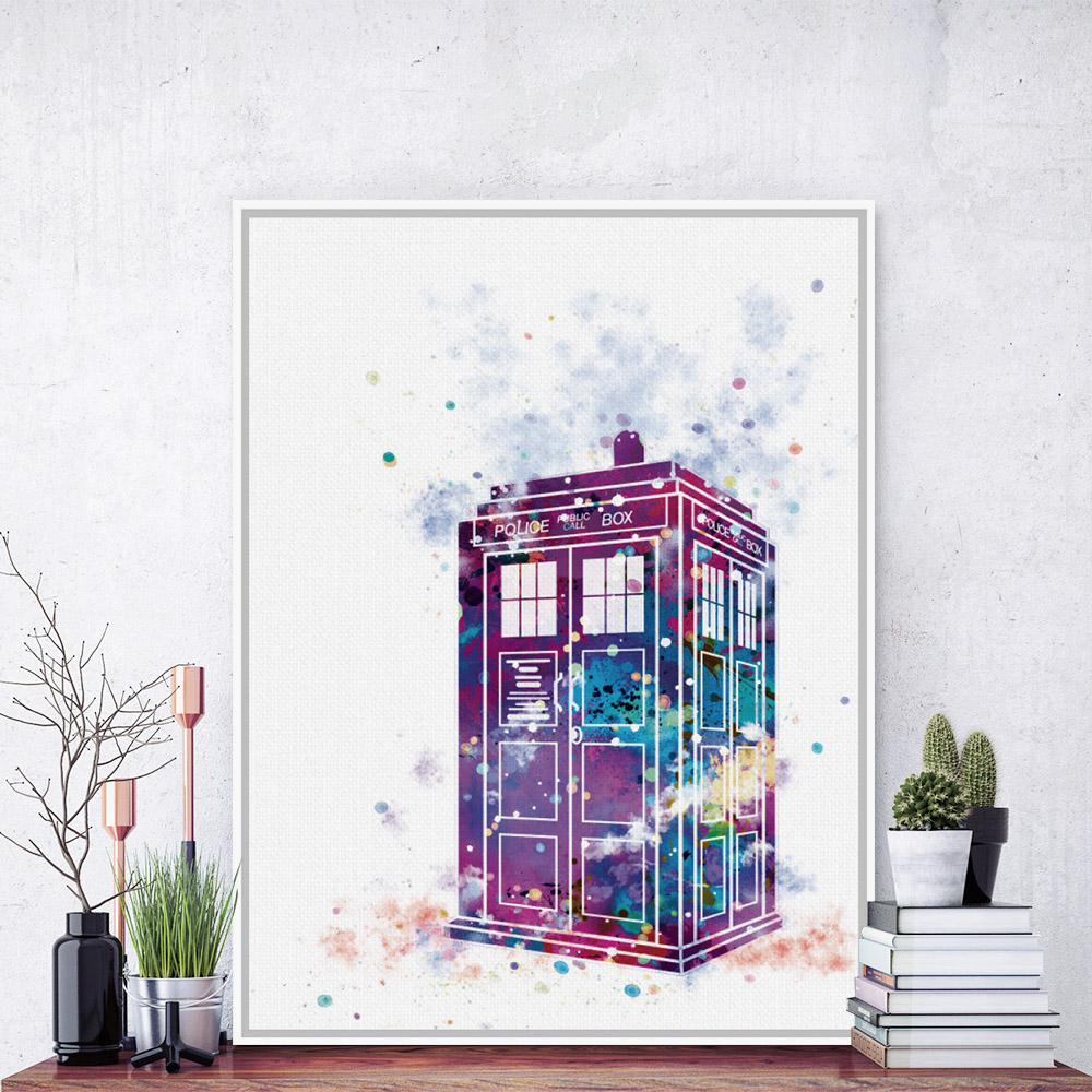 acuarela original moderna dr who cabina de telfono de londres a impresiones de arte cartel abstracto