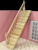 Hot Selling Pre Assembled Staircase Wooden Stair Stringer Step With 1 12 Dollhouse Left Handrail For