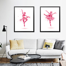 Dancer Girl Print Canvas Painting Watercolor Abstract Wall Picture Modern Poster Room Decor HD2263