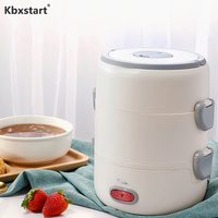 Kbxstart 2L  Portable Multi-function Electric Heating Lunch Box Insulation Food Warmer Containers Steam Rice Cooker 220V