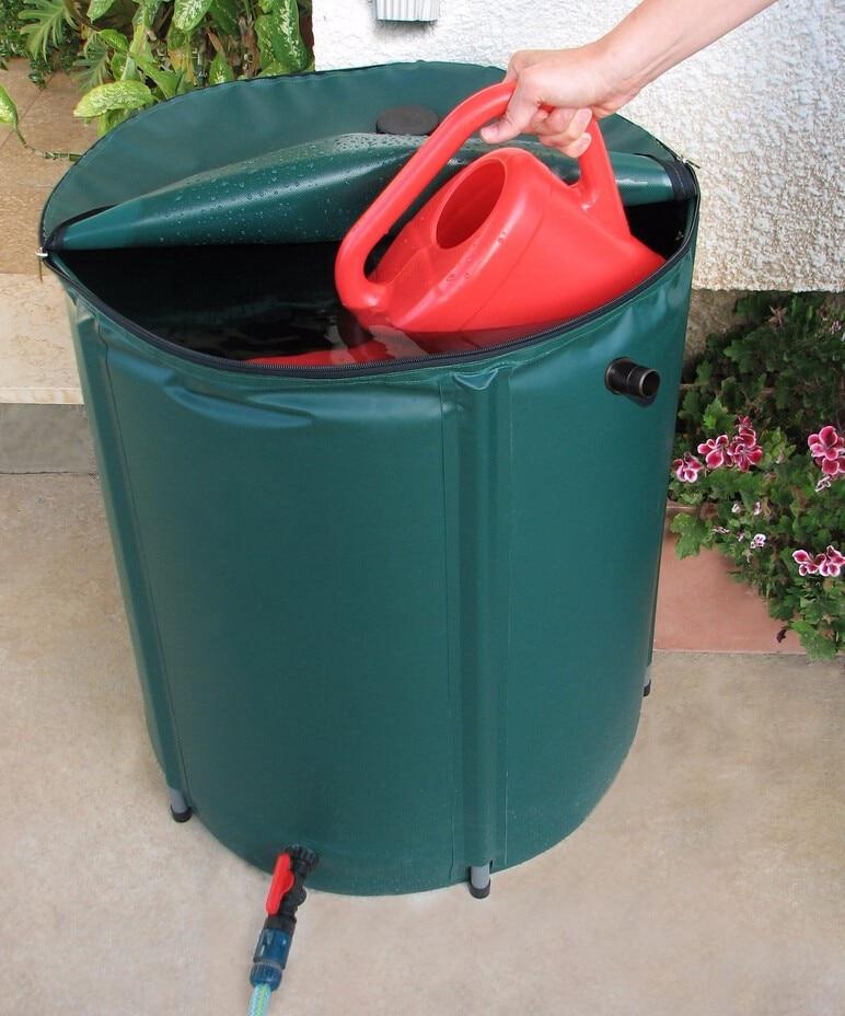 Seau pliable de collecte d'eau de pluie 300L (D65cm X H100cm) seaux à usage extérieur réservoir d'eau pliable PVC bout d'eau compressible
