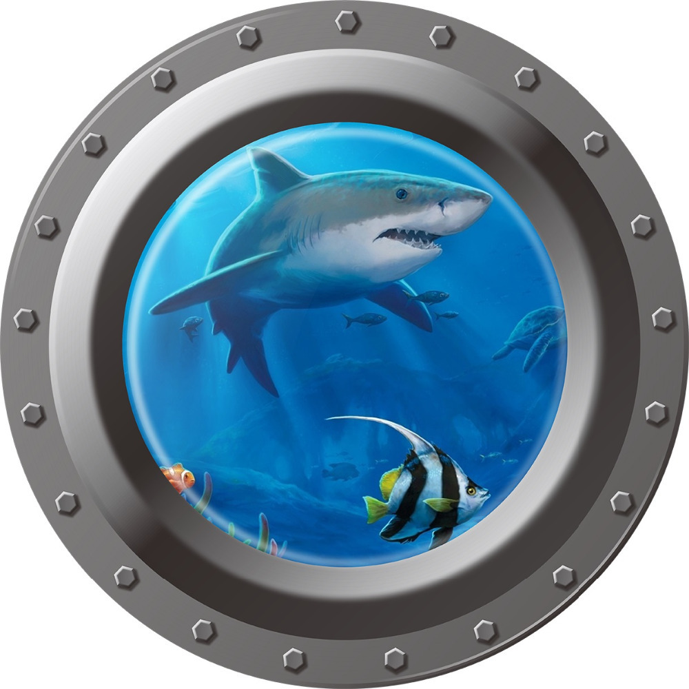 3d Ocean View window Submarine Wall Sticker Decals Porthole Graphics Sea Portal Peel sti ...