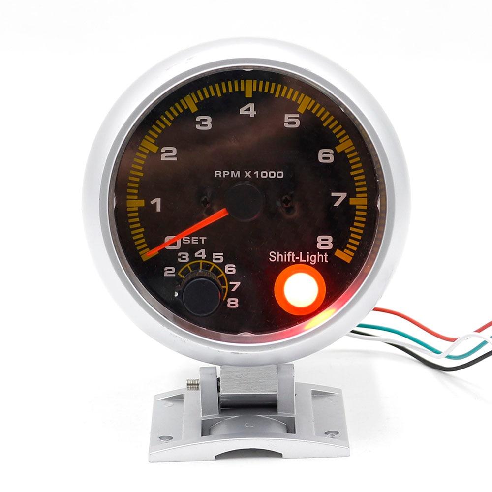 CNSPEED Shift Light 80mm Chrome Tachometer Indikator Panel Face Rpm Gauge Car Meter Shift Light auto bilmätare XS100145
