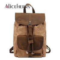 Men Canvas Leather Backpack Women Multifunctional Drawstring Rucksack Waterproof Travel Shoulder Backpack for Teens Mochila