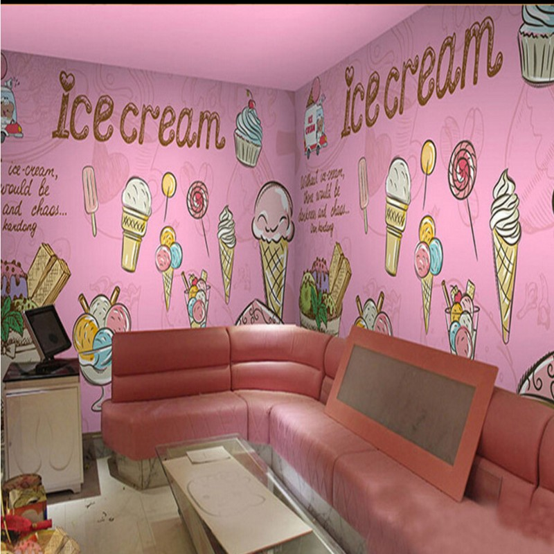 photo wallpaper Pink Ice Cream Cake Mural Restaurant ...
