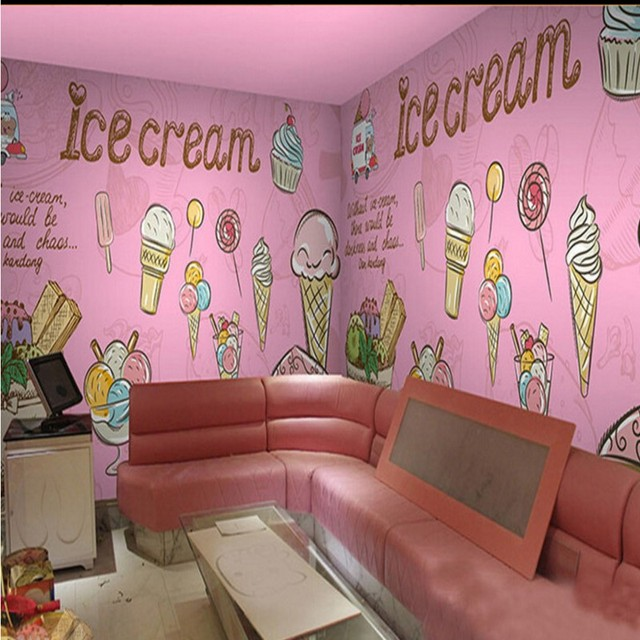 photo wallpaper Pink Ice Cream Cake Mural Restaurant Custom ...