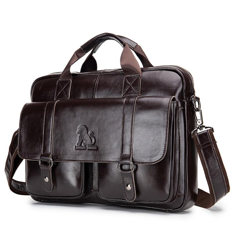 Men's Briefcase Laptop-Bag Tote Shoulder-Bags Messenger Business Office Vintage Casual