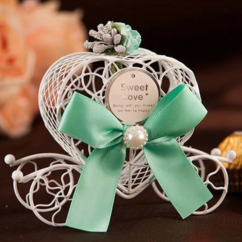 7*7*10 cm White iron carriage wedding candy box with ribbon  10 pcs/lot