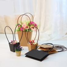 5 шт. черные бумажные пакеты с ПВХ ручной водонепроницаемый цветочный горшок магазин батунтик упаковочный материал свежий цветок Перевозчик растений продается посылка