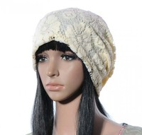 Women's lace floral slouch slouchy hat Lightweight breathable baggy Beanie Hat Cap SH-15