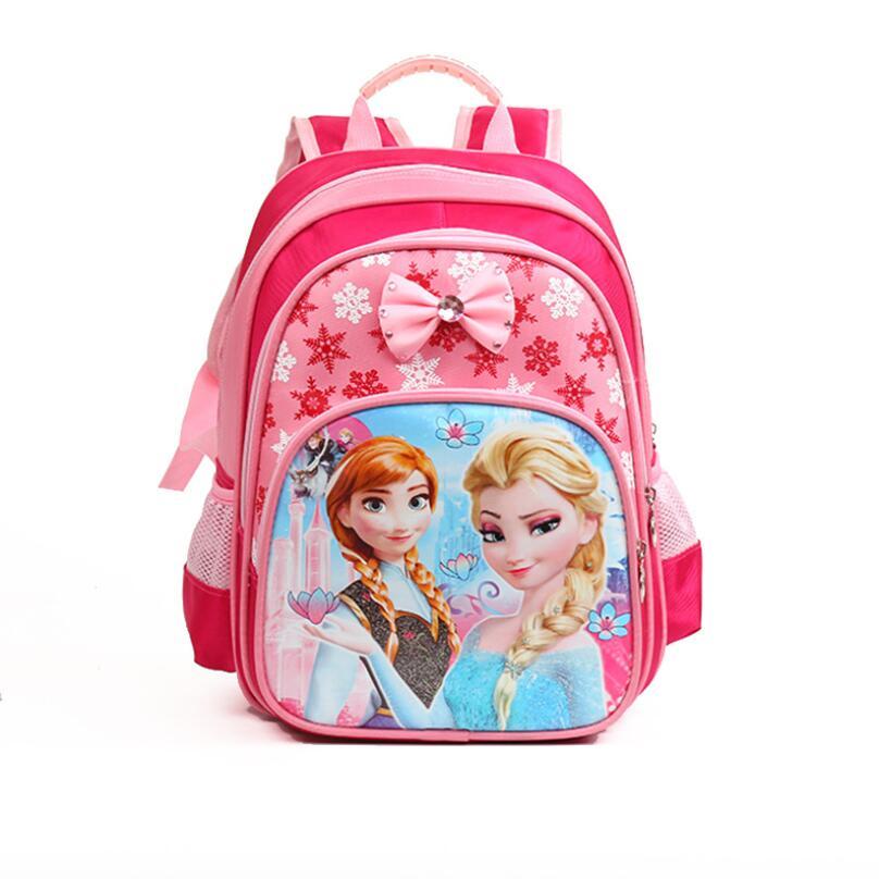 New Anna Elsa Children School Bags Girls Cartoon Snow Queen Backpack Kids Fashion Schoolbag In Stock