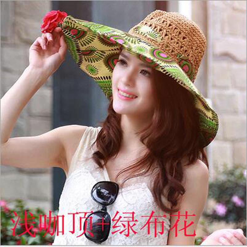 Ymsaid Summer Large Brim Beach Sun Hats Women UV Protection Women Caps With Big  Head Foldable Style Fashion Lady s Straw hat -in Sun Hats from Apparel ... 54b5da766efb