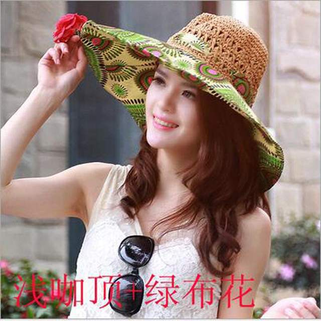316c7c3bf1f Ymsaid Summer Large Brim Beach Sun Hats Women UV Protection Women Caps With Big  Head Foldable