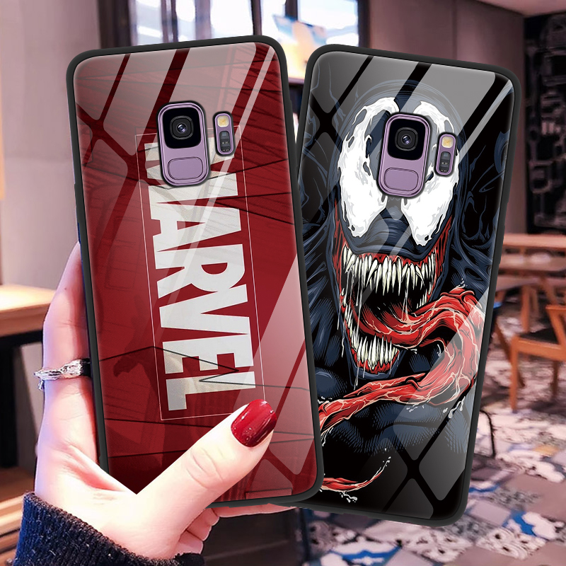 Marvel The Avengers Tempered Glass Case For Samsung Galaxy A50 A70 A40 S9 S10 S8 Plus A7 A8 A6 J4 Plus 2018 M10 M20 Case Coque